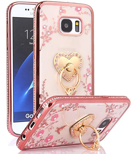Amazon Com Galaxy S7 Case S7 Case Caseup Glitter Crystal Heart Floral Series Slim Luxury Bling Rhinestone Clear Tpu Case With Ring Stand For Samsung Galaxy S7 Rose Gold