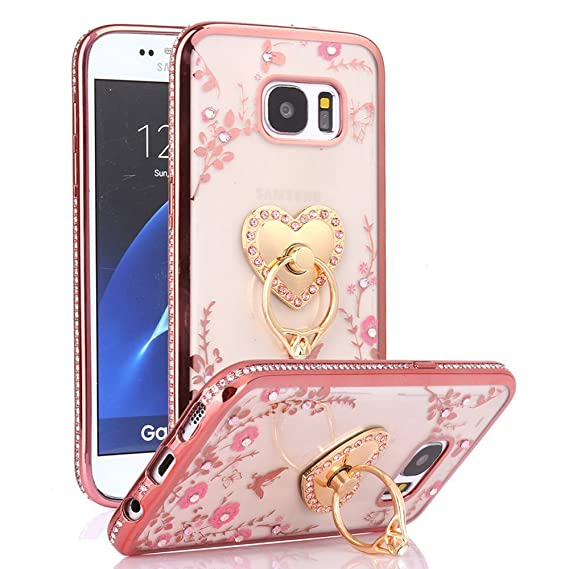 100% authentic 4f265 e80e4 Galaxy S7 Case, S7 Case, CaseUp Glitter Crystal Heart Floral Series - Slim  Luxury Bling Rhinestone Clear TPU Case With Ring Stand For Samsung Galaxy  ...