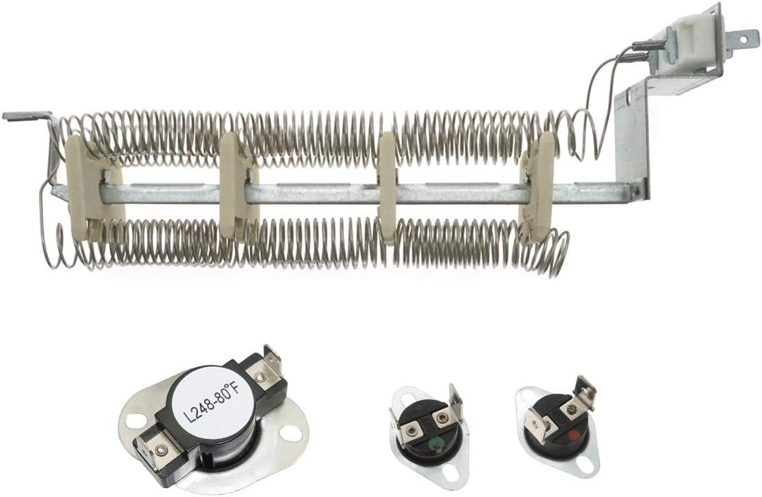 Ecumfy LA-1044 Dryer Heating Element and LA-1053 Dryer Thermostat Fuse Kit Compatible with Whirlpool Magic Chef AP4242494 PS2162280 LA1044