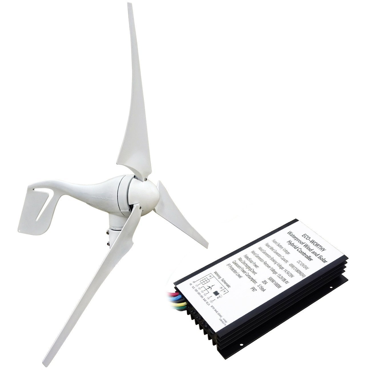 Amazon.com : ECO-WORTHY 400 Watt Wind Turbine Generator with 12V/24V 20A  Hybird Charge Controller for Charging 12 or 24 Volt Battery : Garden &  Outdoor