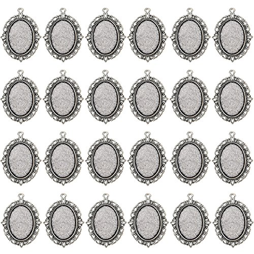 24 PCS Bezel Pendant Trays Oval Cabochon Settings Trays Pendant Blanks -