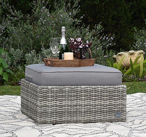Elle Decor Vallauris Outdoor Ottoman, Gray