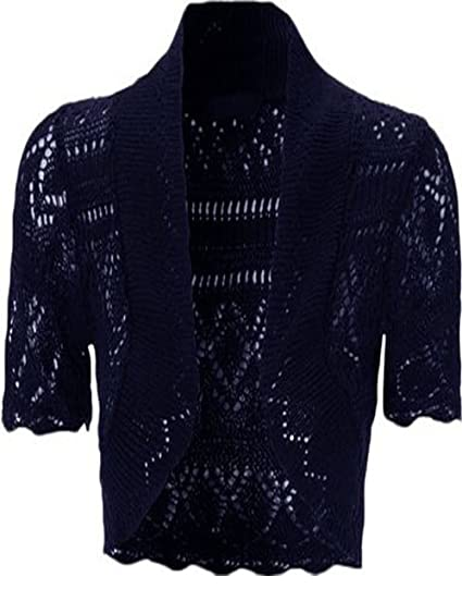 1757aa262c Image Unavailable. Image not available for. Color  Womens Knitted Bolero  Shrug Short Sleeve Crochet ...