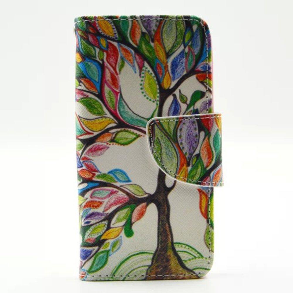 Igrelem® iPhone 55s Housse en cuir, étui portefeuille avec support pour Apple iPhone 5, motif coloré Motif cuir PU Coque pour iPhone 5S (Ancre, Violet), Cuir synthétique Cuir, Tree, Multicolor, iPhone 5/5S