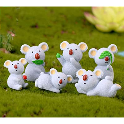 COOLTOP 6pcs Miniature Koalas Fairy Garden Party Decorations Home Garden Decoration Plant Pots Bonsai Craft Deco : Garden & Outdoor