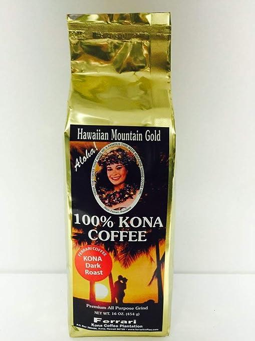 100% Kona Coffee, Dark Roast, Ground, 1 lb