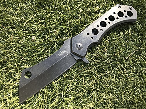 """STEC 10.5"""" Heavy Huge Tactical Hunting Folding Cleaver Knife Stainles Steel Blade (w/Belt Clip & Pouch)"""