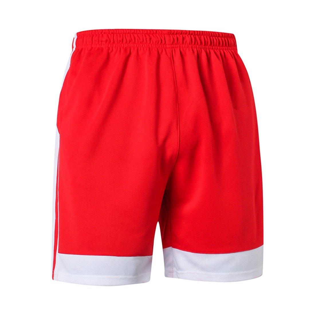 sevenwellメンズルーズフィットパフォーマンスショーツクイックドライRunningメッシュショーツジムワークアウトショーツ B07C4YB51G M=US S|Red&White Red&White M=US S