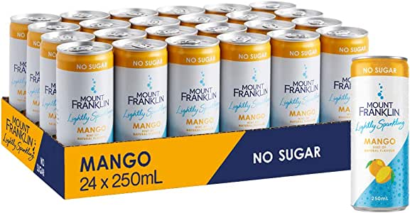 Mount Franklin Lightly Sparkling Water Mango, Multipack Mini Cans 24 x 250mL