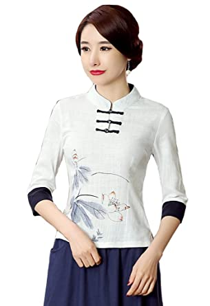 b18e696cbf933b Shanghai Story Women's Linen Tang Suit 3/4 Sleeve Chinese Shirt Blouse Top  ...