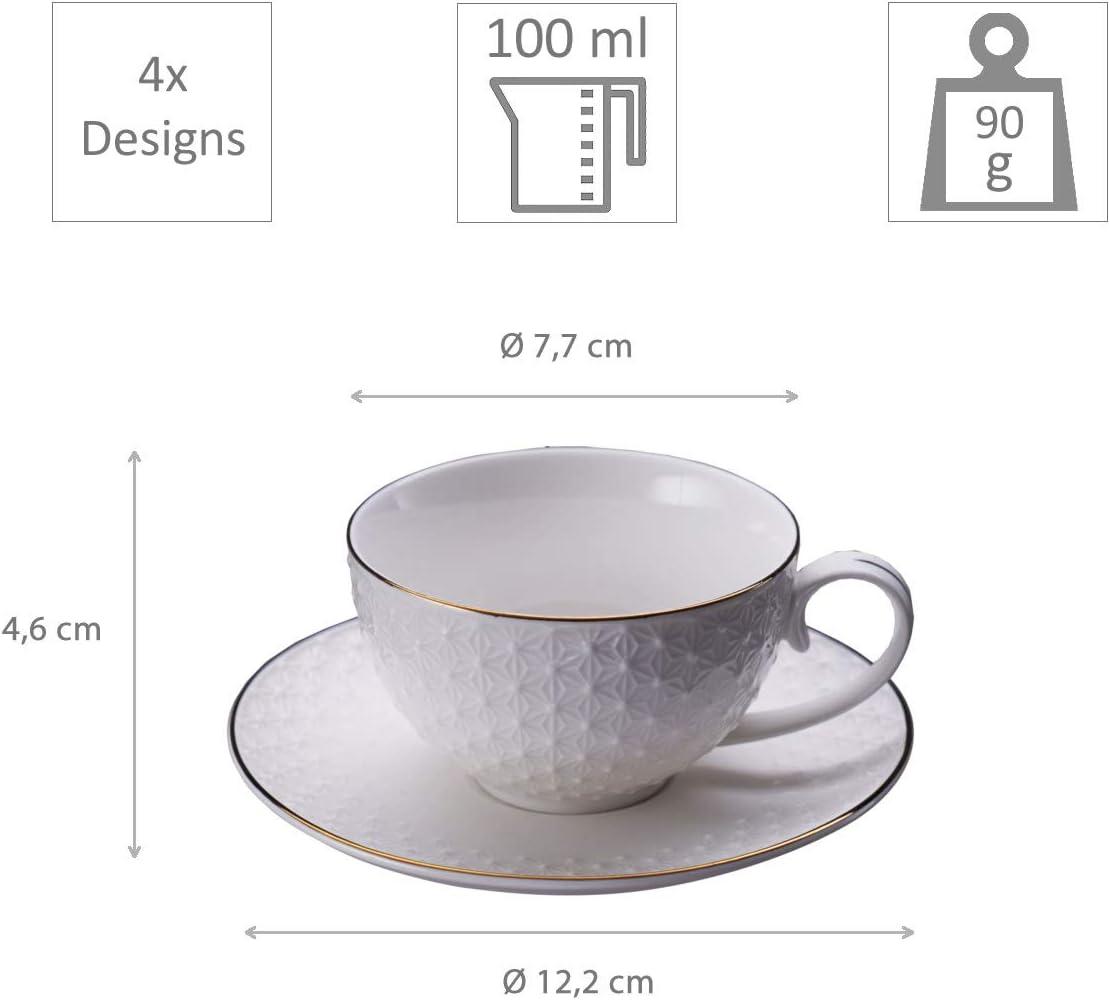 /Ø 7,7 cm 100 ml asiatisches Porzellan mit Gold-Rand inkl TOKYO design studio Nippon White 4-er Tassen-Set wei/ß mit Untertassen Geschenk-Verpackung 4,6 cm hoch Japanisches Design