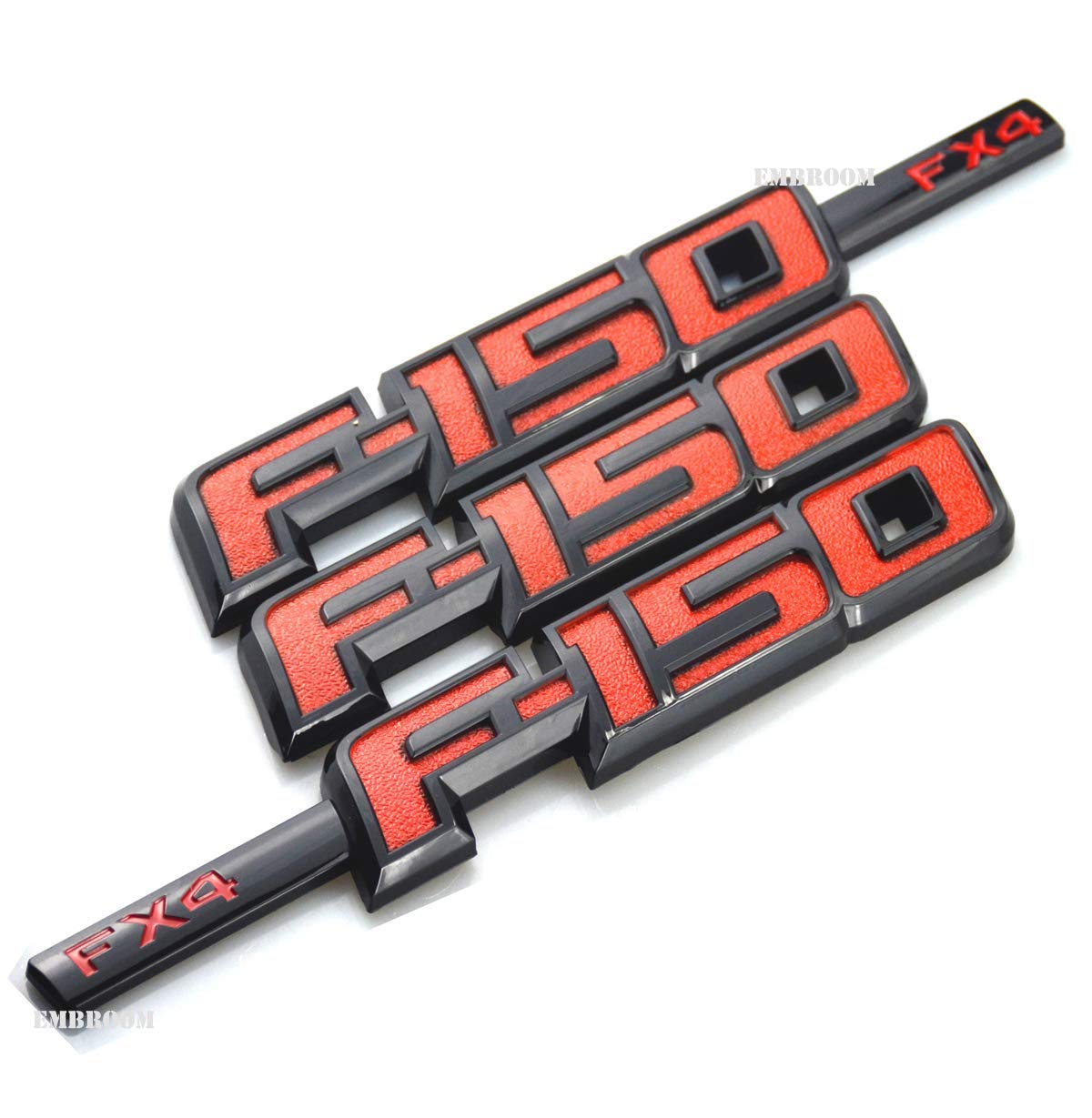 Black 3pcs OEM F-150 Fx4 Emblem Fender F-150 Rear Tailgate Badge 3D Nameplate Replacement for F150 Origianl Size Genuine Parts Black Red