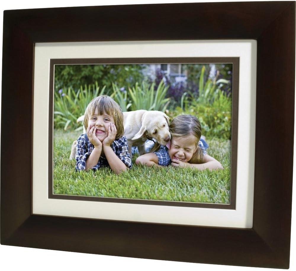 """HP 8"""" LCD Digital Photo Frame With Calendar-Dark Espresso Wood"""