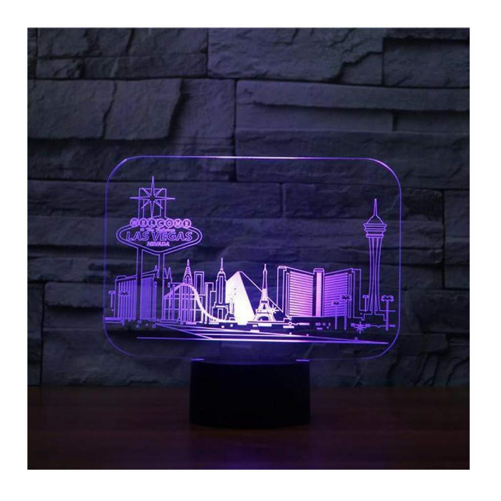 Luxury & Trendy Las Vegas 3D Led Vision 7 Colors Changing Las Vegas Building Table Lamp Bedroom Atmosphere Sleep Lighting USB Decor Kids Gifts Night Light