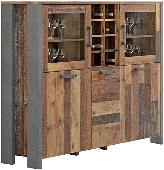 Vitrina De Alta Gama Clif 5 Trg Diseno Old Wood Vintage De Forte Amazon Es Juguetes Y Juegos
