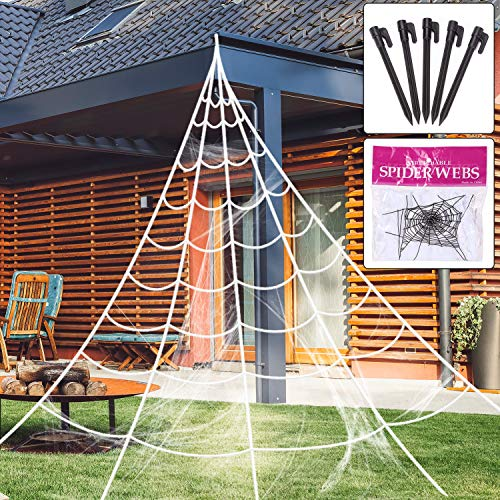 Halloween Giant Spider Web with Cobweb Set, Trick Or Treat Party & Home Decorations for Indoor/Outdoor Yard, Ovipo Halloween Decor Decorations Outdoor Yard, White, 16 Feet