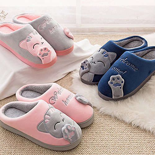 Cartoon Peluche Donna Casa Antiscivolo Cotone Scrape Pantofole Indoor Nero Slippers 7ZwZd