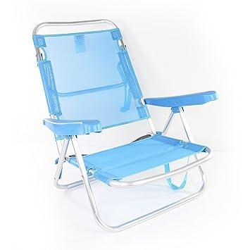 Chaise De Plage Basse Aluminium Bleu Amazon Fr Jardin