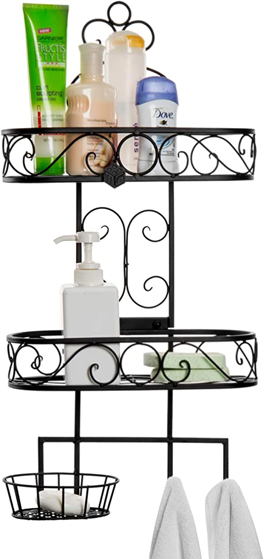 Towel Hooks Storage Rack 3-Tier Wall Mounted Black Metal Bathroom Organizer