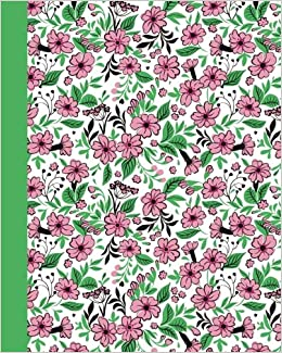 journal field of flowers pink and green 8x10 lined journal writing journal with blank lined pages
