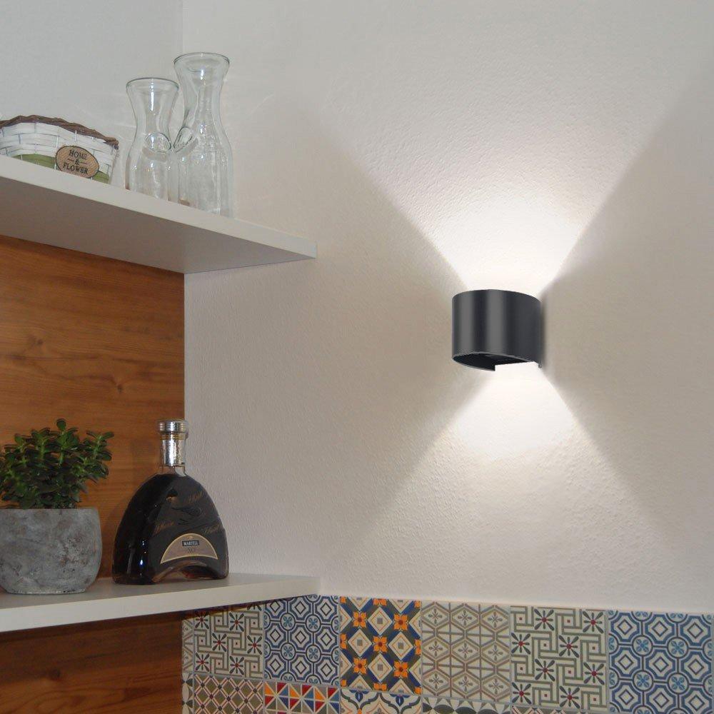 LED Wandleuchte Innen Au/ßen Warmwei/ß mit Einstellbar Abstrahlwinkel 12W IP65 Up Down