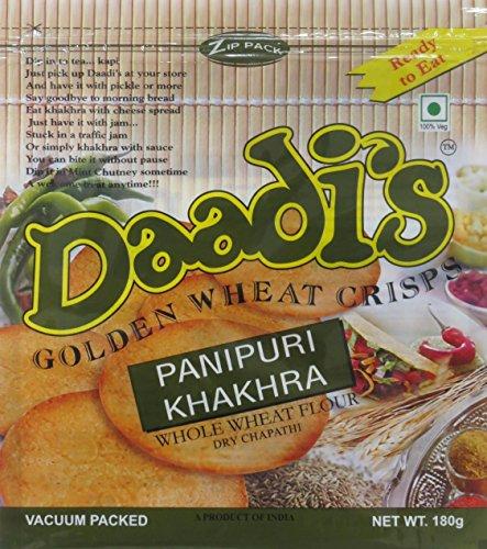 Daadi's Golden Wheat Crisps, Panipuri Khakhra, 180g (Pack of 3)
