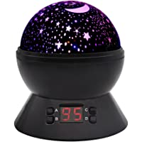 Baby Night Light, DCAUT Rotating Star Moon Projector Night Lamp with Timer Auto Shut Off Colour Change Bedside lamp for Kids Children, BirthdayGift for Boys Girls