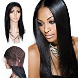 Mike & Mary Top 7A All Handmade Human Hair Full Lace Wigs Straight for Black Women Brazilian Virgin Human Hair (22inch, #4 Dark Brown)