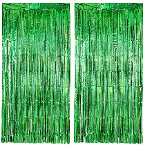 Gejoy 2 Packs Foil Curtains Metallic Tinsel Curtains Grad Party Fringe Curtains Laser Party Decor Curtains for Birthday Wedding Graduation Festival Party Photo Backdrops (Laser -