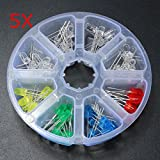 Utini 400Pcs 5mm Diodes Yellow Red Blue Green Led Light DIY Assortment Kit