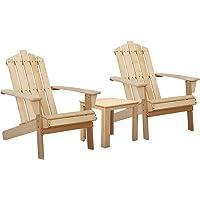 Gardeon Outdoor Sun Lounge Beach Chairs Table Setting Wooden Adirondack Patio Natural Wood Chair