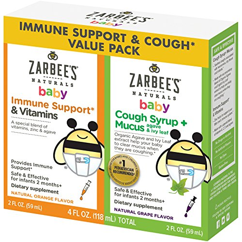 Zarbee's Naturals Baby Immune Support* & Vitamins and Cough Syrup + Mucus Value Pack, 4 Fl. Ounces Total