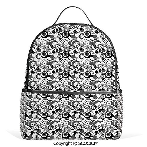 (Casual Fashion Backpack Monochrome Circles Dots Surreal Expressionism Inspired Geometric Modern Art Decorative,Grey Black White,Mini Daypack for Women & Girls )