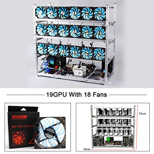 Aluminum 19 GPU Mining Rig Case With 18PCS 120mm Case Fan, Stackable Open Air Frame Miner Case For ETH/ETC/ZCash/Cryptocurrency(Blue LED Fans,Silver) Aluminum Stackable