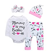 Baby Girl Clothes Cute Letter Romper + Arrow Heart Pants + Headband + Hat Newborn Girls Outfits 4pcs (Pink-C, 9-12 Months)