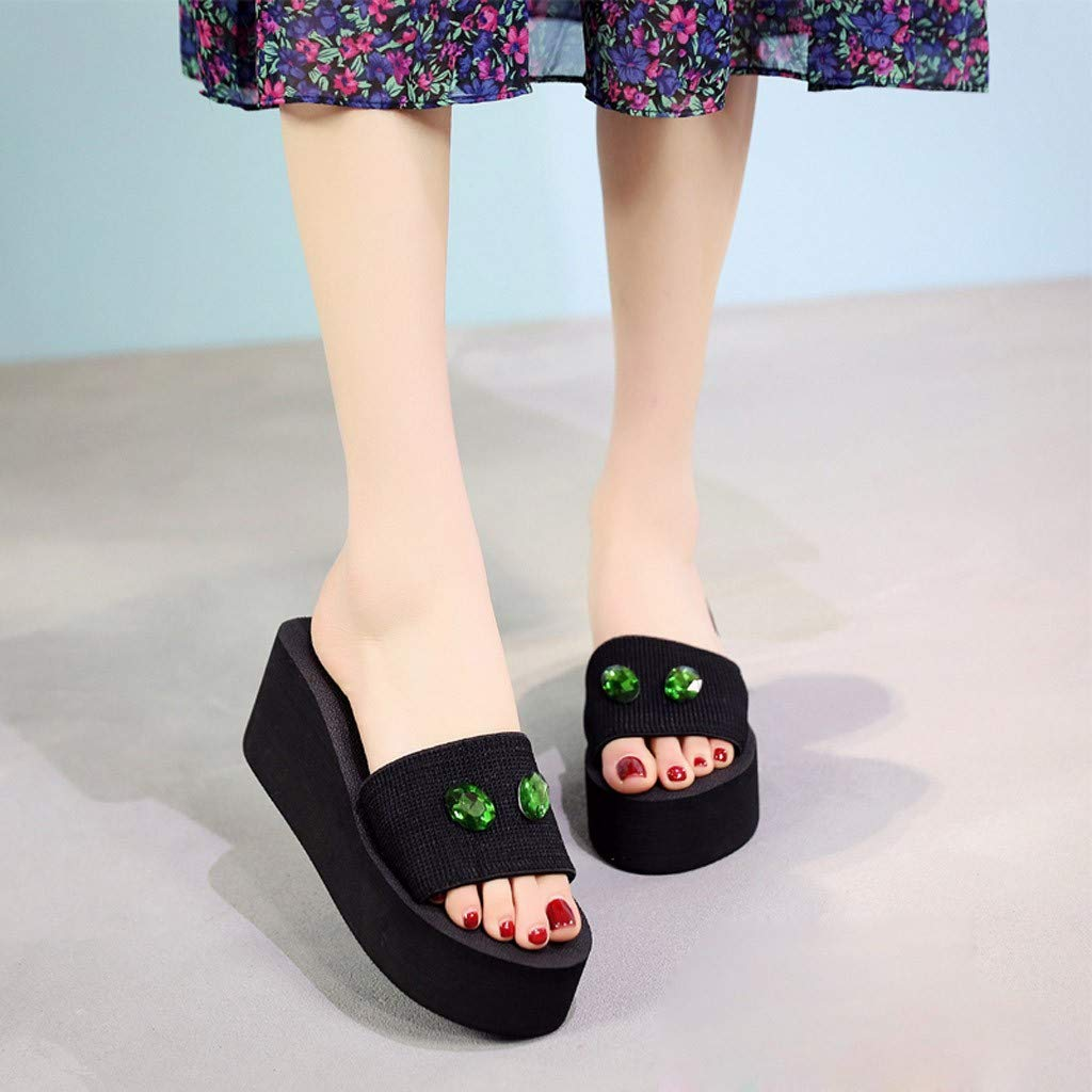 YOcheerful Summer Womens Sandals,Flat Beach Slippers Pearl Drill Sandals Home Bathroom Slippers Beach Holiday Slippers