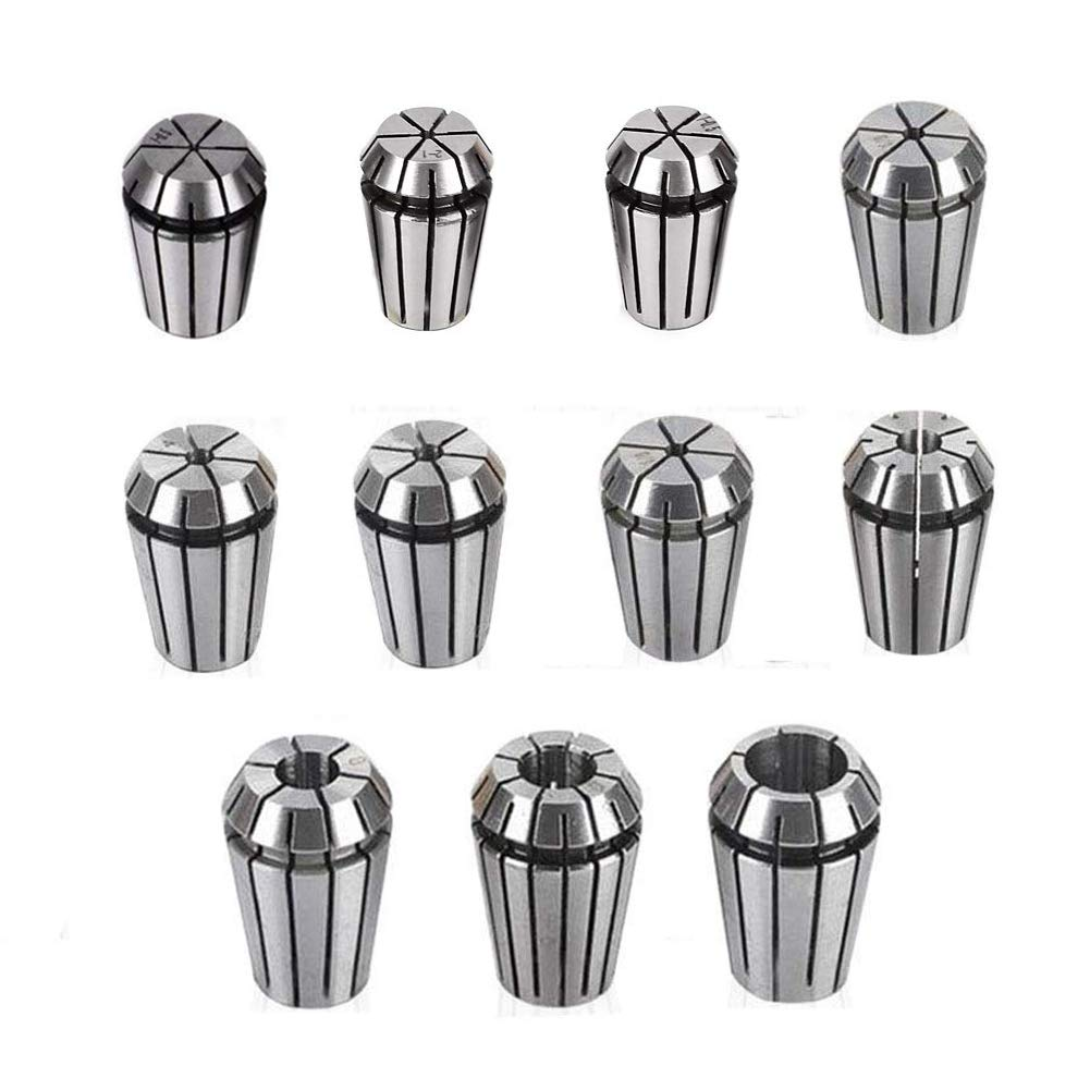ER16 Spring Collet Chuck Sets, Knugoua 65Mn Spring Steel Precision Collet End Mill Holder for CNC Engraving Machine Router Milling Lathe Tool 11Pcs Size 3.175mm, 1~10 mm