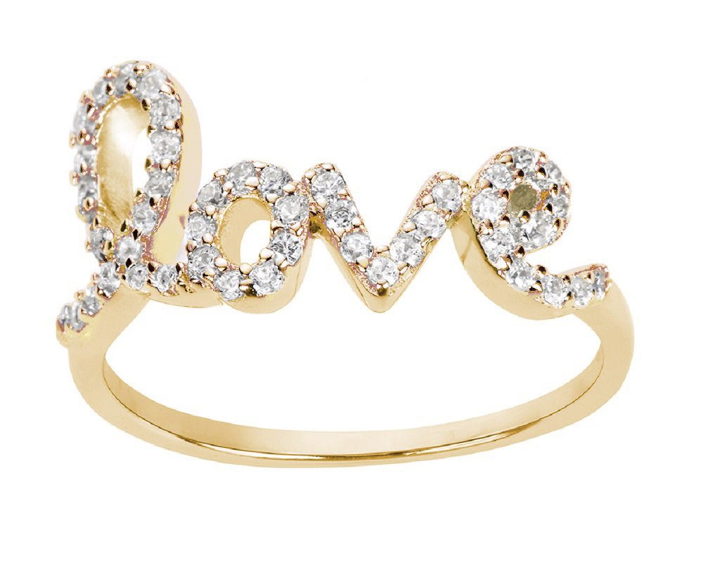 CloseoutWarehouse Cubic Zirconia Love in Script Ring Yellow Gold-Tone Plated Sterling Silver Size 13