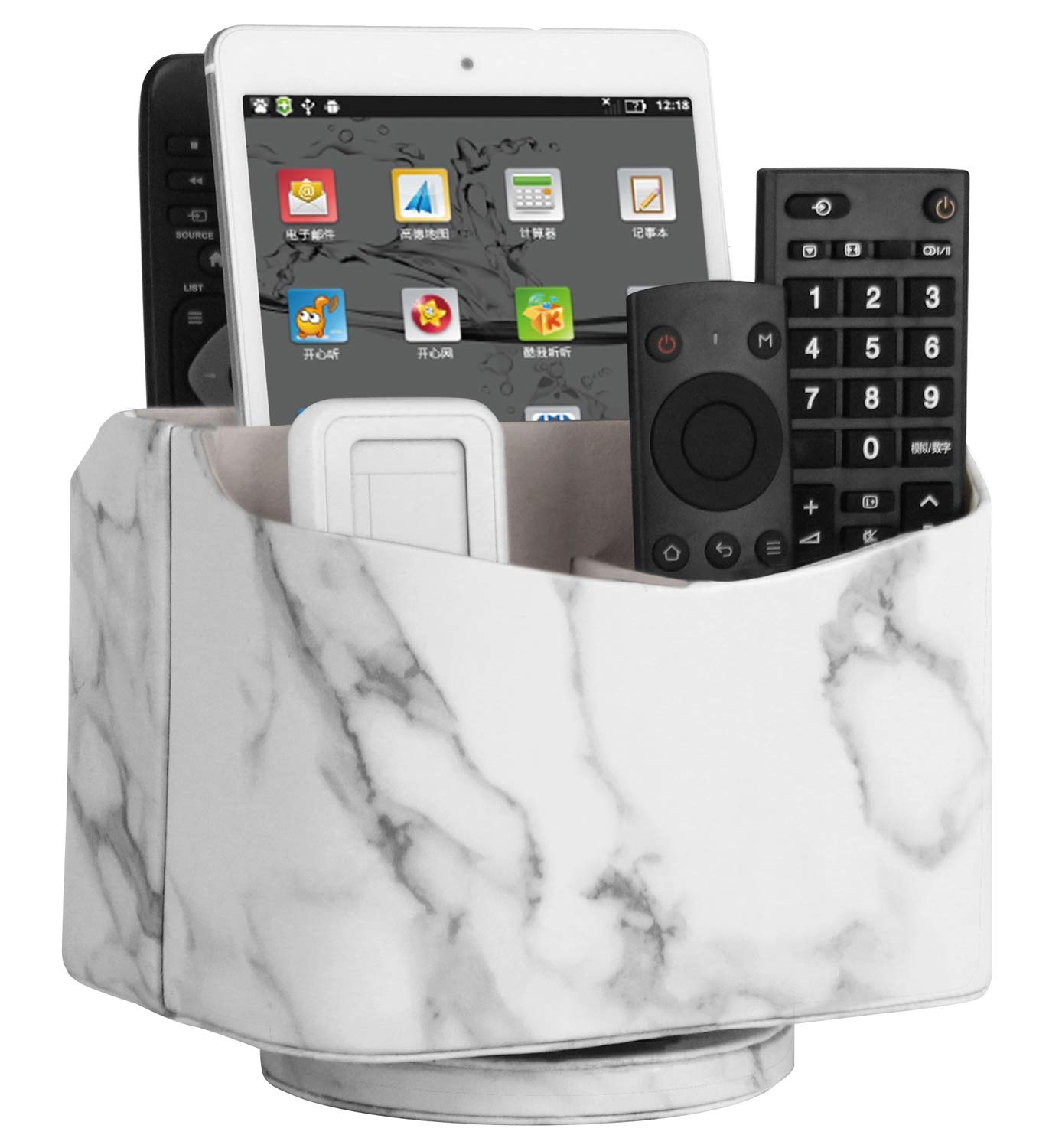 HofferRuffer Spinning Remote Control Holder, Remote Controller Holder, Remote Caddy, Media Storage Organizer, Spinning Remote Control Organizer, PU Leather (Marble) by HofferRuffer