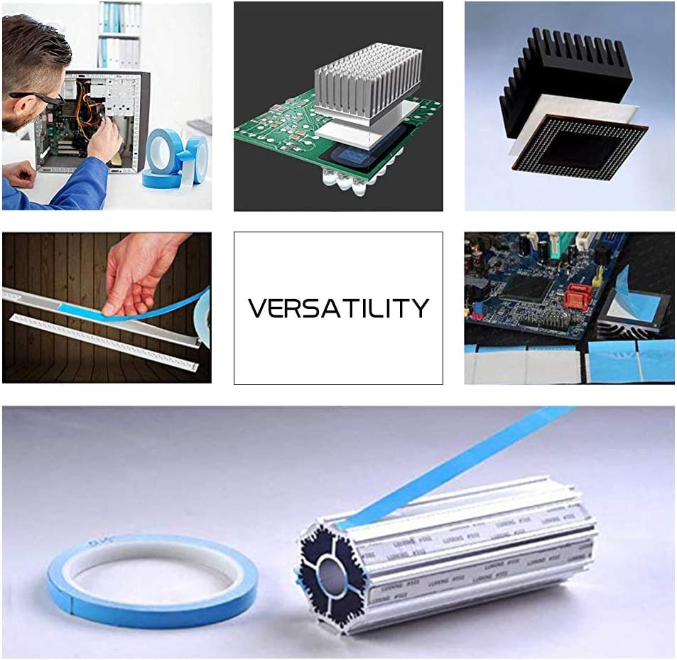 MOS Tube 10mm x/25M IGBT Computer CPU LED Thermal Tape IC Chip SSD Drives Modules 10mm x/25M Double Sided Adhesive Thermal Conductive Tape High Performance for Heatsink GPU