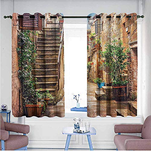 (VIVIDX Thermal Insulating Blackout Curtains,Italian,Old Stone Street Houses,Room Darkening, Noise Reducing,W72x63L)