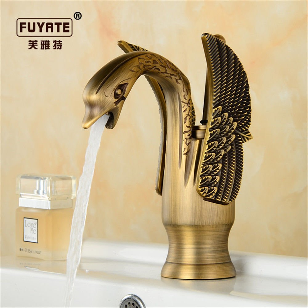 Lalaky Taps Faucet Kitchen Mixer Sink Waterfall Bathroom Mixer Basin Mixer Tap for Kitchen Bathroom and Washroom Antique Hot and Cold Retro Copper gold Single Cold Black