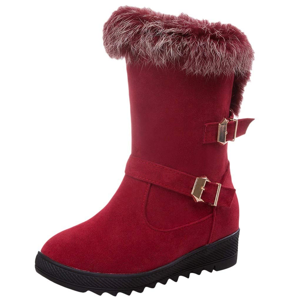 Women's Snow Boots,WUAI Winter Shoes Warm Fur Lining Waterproof Mid Calf Lightweight Snow Booties(Red,US 5.5/CN 35) by WUAI-Shoes
