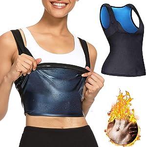 Nigecue Workout Tank Top for Women, Sauna Sweat Workout Body Shaper, Neoprene-Free Yoga Vest, Sauna Suit