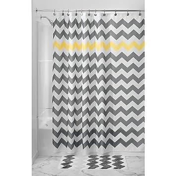 InterDesign Chevron Shower Curtain, 54 X 78, Gray/Yellow