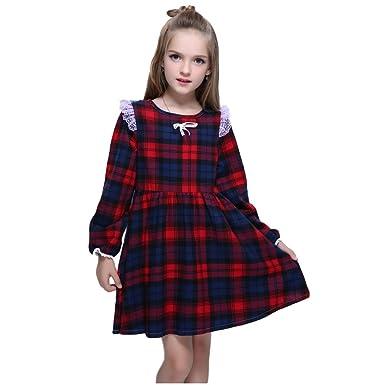 c36c1a7a29ef Amazon.com: Kseniya Kids Big Little Girls Cotton Long Sleeve Dresses Puff  Plaid Lace Bowknot Girl Autumn Winter Dress: Clothing