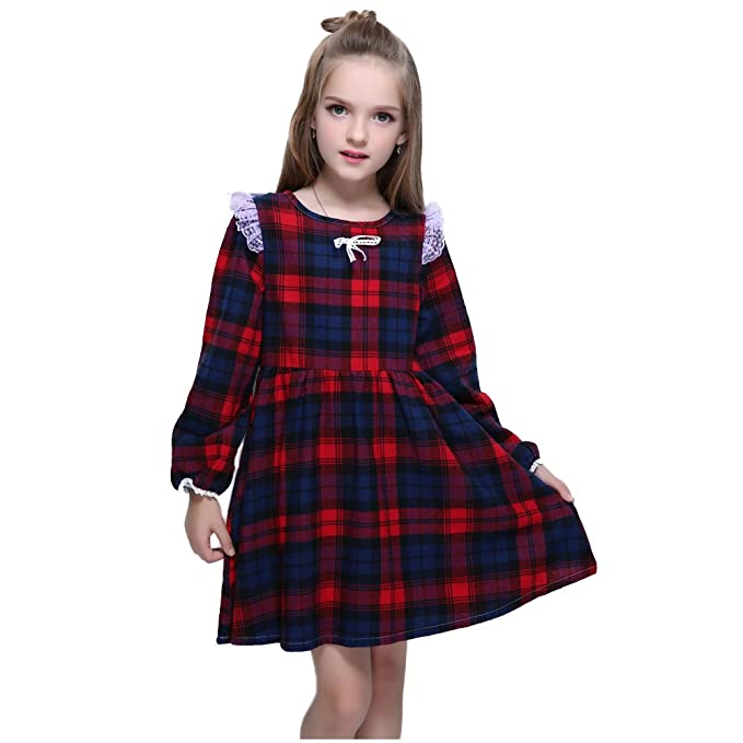 Vintage Style Children's Clothing: Girls, Boys, Baby, Toddler Kseniya Kids Big Little Girls Cotton Long Sleeve Dresses Puff Plaid Lace Bowknot Girl Autumn Winter Dress $19.99 AT vintagedancer.com