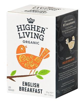 Higher Living, té de desayuno orgánico inglés, 20 bolsas de ...