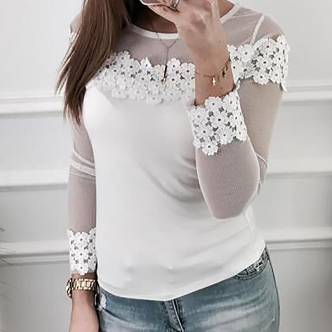 c29dea95c27 Kangma Women Mesh Lace Patchwork Elastic Pullover Long Sleeve Crop Shirt  Tops Blouse White at Amazon Women s Clothing store