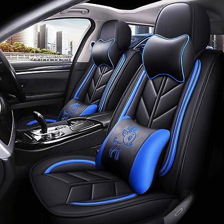 Yangd Autositzbezüge Set Leder Universal Sitzbezüge Auto Vordersitze Und Rückbank Komplettset Für Auto Zubehör Innenraum Color Blue Auto